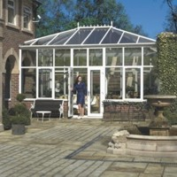 Edwardian conservatory between buildings